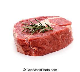 牛肉, ribeye, 小枝, ステーキ, ローズマリー, 装飾される