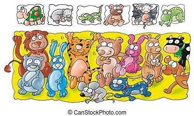 牛, コウモリ, mou, tiger, 動物, うさぎ