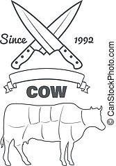 牛, 型, 肉屋, チョーク, ベクトル, メニュー, 切口