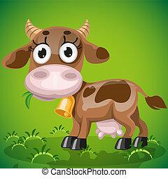牛, 赤ん坊, かむ, 草, かわいい