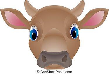 牛, 顔, ベクトル, デザイン, 背景, 白