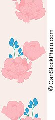 牡丹, 作品, seamless, 垂直, 邊框, 粉紅色