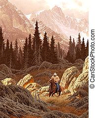 牧場主, 山, 岩石