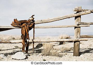 牧場, -, フェンス, 鞍