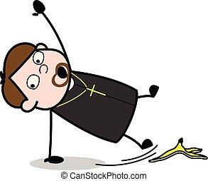 牧师, slipped, 剥皮, -, 僧侣, 描述, 卡通漫画, 矢量, 香蕉