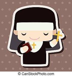 牧師, 以及, 修女, 主題, 元素