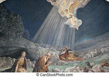 牧羊人, 他們, 天使, 領域, 通知, visited, bethlehem, 誕生, shepherds', 教堂,...