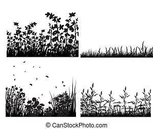 牧草地, シルエット, セット