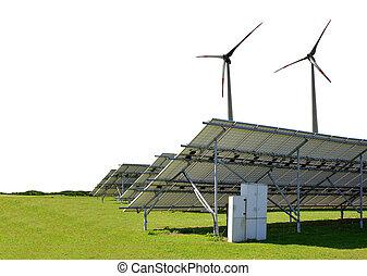 牧草地, タービン, 風, 太陽, バックグラウンド。, パネル, エネルギー, 白