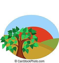 牧草地, 太陽, 日当たりが良い, 木, 赤, 風景