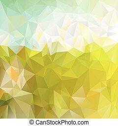 牧草地, 春, -, 三角, 背景, polygonal, 色, ベクトル, デザイン, 日当たりが良い, 緑