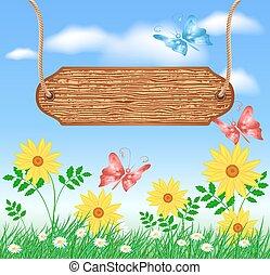牧草地, 木製である, 看板