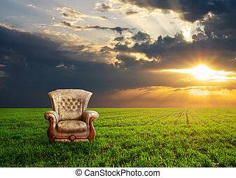 牧草地, 椅子, 緑