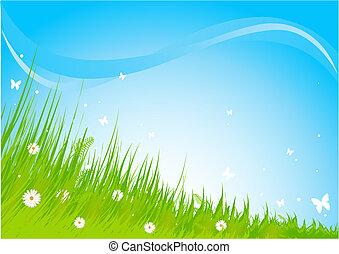 牧草地, 称賛, 背景
