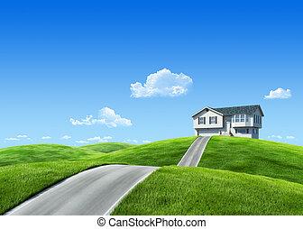 牧草地, 自然, 家, 7000px, -, コレクション, 緑