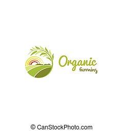 牧草地, 色, 抽象的, 日当たりが良い, logotype, 隔離された, 形, ベクトル, 緑, 農業, ラウンド, ロゴ, illustration.