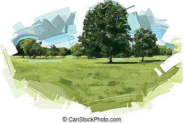 牧草地, 風景