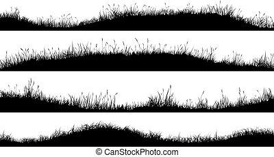 牧草地, grass., シルエット, 波状, 水平なバナー