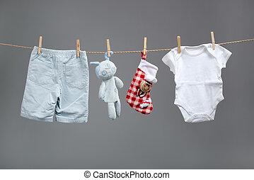 物干し綱, 男の子, 袋, 赤ん坊, santa, 衣服