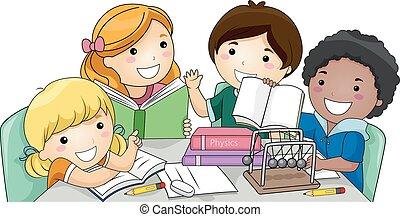 物理學, 研究, 孩子, 組