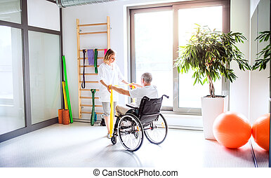 物理療法家, 女, wheelchair., 仕事, 若い, 年長 人