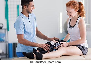 物理療法家, 患者, 足, 支持, stiffener, 幸せ