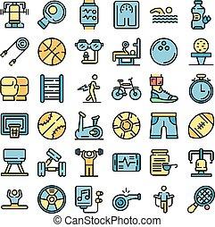 物理, 矢量, 活動, 圖象, 集合, 套間