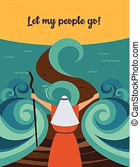 物語, 人々, 命令, passover., 分裂, egypt., ユダヤ人, そうさせられた, 海, 行きなさい,...