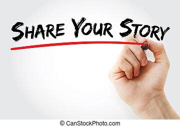 物語, 分け前, 手, マーカー, 執筆, あなたの