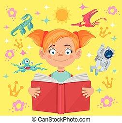 物語, 女の子, 本, 読む, 妖精