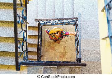 物語, 女, 階段, 監視, 3, 下に