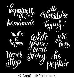 物語, 所有するため, ポジティブ, 書きなさい, インスピレーションを与える, 引用, あなたの, 手書き
