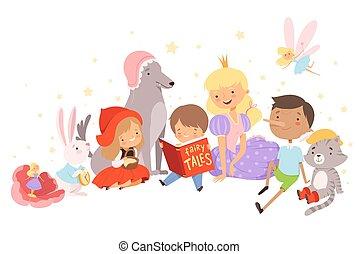物語, 男の子, わずかしか, おとぎ話, モデル, ベクトル, 保有物, 妖精, 読書, イラスト, 彼, 開いた, の後ろ, 本, 特徴