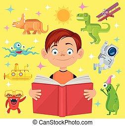 物語, 男の子, 読む, 本, 妖精