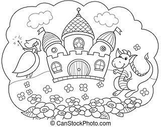 物語, dream., childrens, storybook., 王女, ドラゴン, ベクトル, tale., 妖精, 泡, castle.