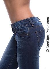 特写镜头, 在上, jeans., 边观点, 在中, 女性, 屁股, 在中, 牛仔裤, 隔离, 在怀特上