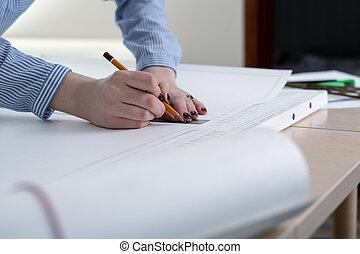 特写镜头, 在中, 女性的手, 带, 铅笔, 同时,, 统治者