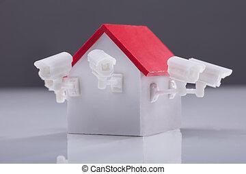 特写镜头, 在中, 房子, 模型, 带, 监视照相机