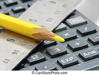 特写镜头, 在中, 统治者, 同时,, 铅笔