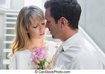 特写镜头, 在中, a, 爱夫妇, 带, 花