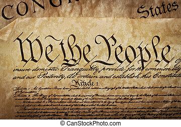 特写镜头, 在中, the, 美国, 宪法