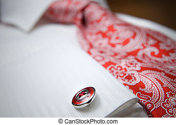 特写镜头, 衬衫, 照片, 大头钉, 领带, 红的怀特