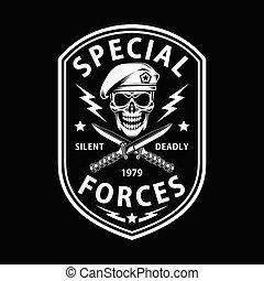 特別, 交差させる, 力, 短剣, 軍隊, 黒, 紋章