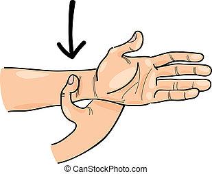 特別, acupressure, ポイント, 上に, 手