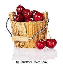 特寫鏡頭, 櫻桃, 在, 木桶
