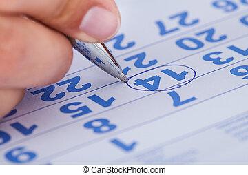 特寫鏡頭, ......的, 人, 注意, 上, 日曆