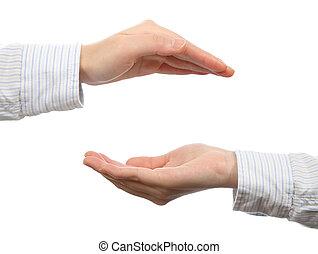 特寫鏡頭, ......的, a, 人的, 手, 手勢