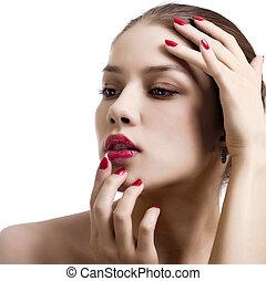 特寫鏡頭, 肖像, ......的, 性感, 高加索人, 年輕婦女, 由于, 紅色, 明亮, 修指甲