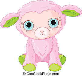 特徴, かわいい, 子羊