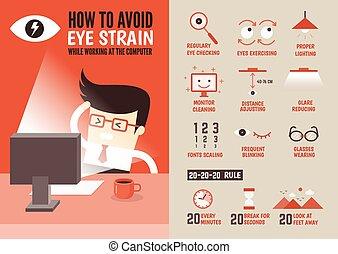 特徴, について, 防止, 漫画, infographic, ヘルスケア, eyestrain